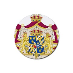 Greater Coat Of Arms Of Sweden  Rubber Round Coaster (4 pack)