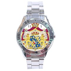 Greater Coat Of Arms Of Sweden  Stainless Steel Analogue Watch
