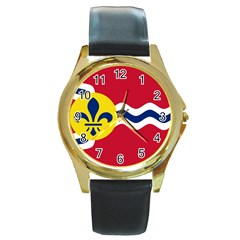 Flag Of St Round Gold Metal Watch