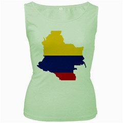 Flag Map Of Colombia Women s Green Tank Top