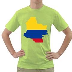 Flag Map Of Colombia Green T Shirt