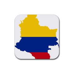 Flag Map Of Colombia Rubber Square Coaster (4 pack)