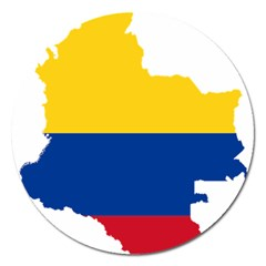 Flag Map Of Colombia Magnet 5  (round)