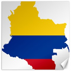 Flag Map Of Colombia Canvas 12  x 12