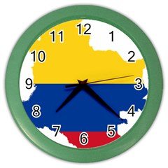 Flag Map Of Colombia Color Wall Clocks