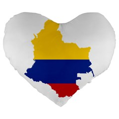Flag Map Of Colombia Large 19  Premium Flano Heart Shape Cushions