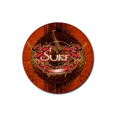 Surfing, Surfboard With Floral Elements  And Grunge In Red, Black Colors Rubber Round Coaster (4 Pack)