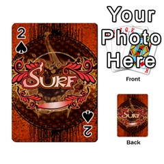 Surfing, Surfboard With Floral Elements  And Grunge In Red, Black Colors Playing Cards 54 Designs
