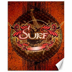 Surfing, Surfboard With Floral Elements  And Grunge In Red, Black Colors Canvas 11  x 14