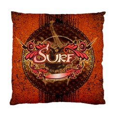 Surfing, Surfboard With Floral Elements  And Grunge In Red, Black Colors Standard Cushion Case (One Side)