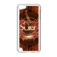 Surfing, Surfboard With Floral Elements  And Grunge In Red, Black Colors Apple iPod Touch 5 Case (White)