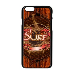 Surfing, Surfboard With Floral Elements  And Grunge In Red, Black Colors Apple Iphone 6/6s Black Enamel Case