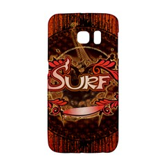 Surfing, Surfboard With Floral Elements  And Grunge In Red, Black Colors Galaxy S6 Edge