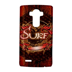 Surfing, Surfboard With Floral Elements  And Grunge In Red, Black Colors LG G4 Hardshell Case