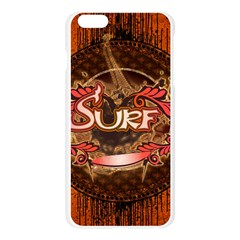 Surfing, Surfboard With Floral Elements  And Grunge In Red, Black Colors Apple Seamless iPhone 6 Plus/6S Plus Case (Transparent)