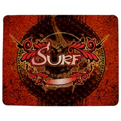Surfing, Surfboard With Floral Elements  And Grunge In Red, Black Colors Jigsaw Puzzle Photo Stand (rectangular)