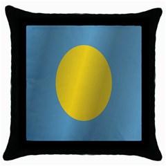 Flag of Palau Throw Pillow Case (Black)