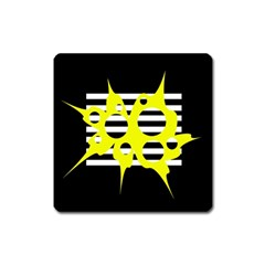 Yellow abstraction Square Magnet