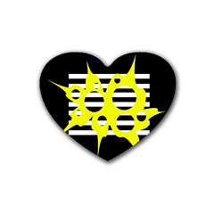 Yellow abstraction Rubber Coaster (Heart)
