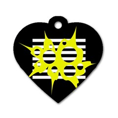 Yellow abstraction Dog Tag Heart (Two Sides)