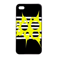 Yellow abstraction Apple iPhone 4/4s Seamless Case (Black)