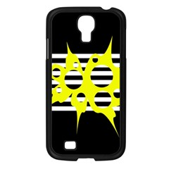 Yellow abstraction Samsung Galaxy S4 I9500/ I9505 Case (Black)