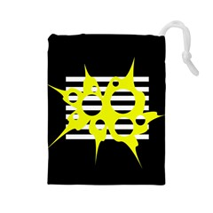 Yellow abstraction Drawstring Pouches (Large)