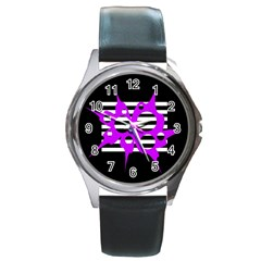 Purple abstraction Round Metal Watch