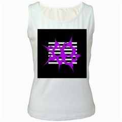 Purple abstraction Women s White Tank Top