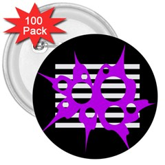 Purple abstraction 3  Buttons (100 pack)