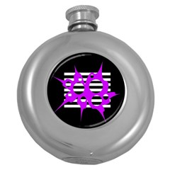 Purple abstraction Round Hip Flask (5 oz)