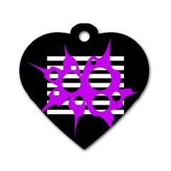 Purple abstraction Dog Tag Heart (One Side)