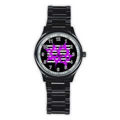 Purple abstraction Stainless Steel Round Watch