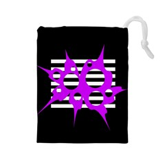Purple abstraction Drawstring Pouches (Large)