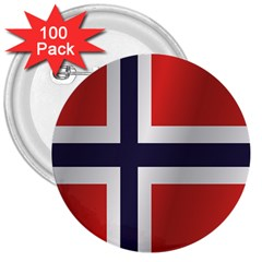 Flag Of Norway 3  Buttons (100 pack)