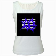 Blue abstract design Women s White Tank Top