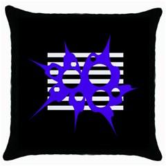 Blue abstract design Throw Pillow Case (Black)
