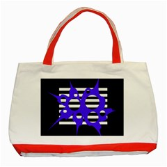 Blue abstract design Classic Tote Bag (Red)