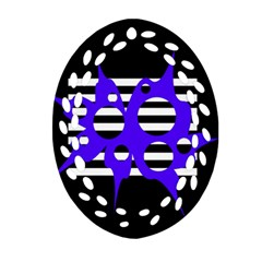Blue abstract design Oval Filigree Ornament (2-Side)