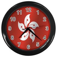 Flag Of Hong Kong Wall Clocks (Black)