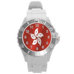 Flag Of Hong Kong Round Plastic Sport Watch (L)
