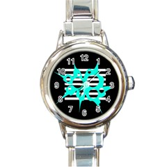 Cyan abstract design Round Italian Charm Watch