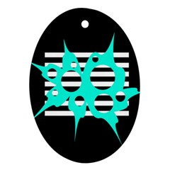 Cyan abstract design Ornament (Oval)