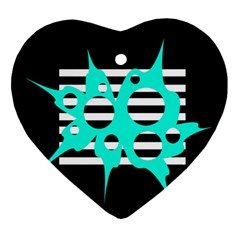 Cyan abstract design Ornament (Heart)