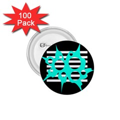 Cyan abstract design 1.75  Buttons (100 pack)