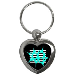 Cyan abstract design Key Chains (Heart)
