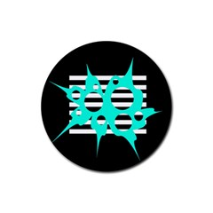 Cyan abstract design Rubber Round Coaster (4 pack)