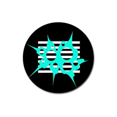Cyan abstract design Magnet 3  (Round)