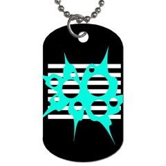Cyan abstract design Dog Tag (Two Sides)