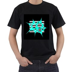 Cyan abstract design Men s T-Shirt (Black) (Two Sided)